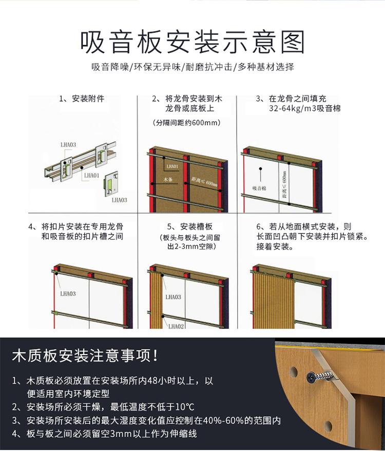 阻燃槽木吸音板安装方法