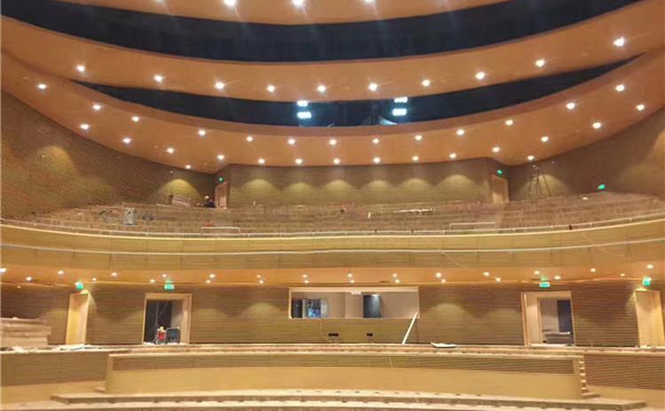 湖北襄阳学院音乐厅槽木吸音板声学工程